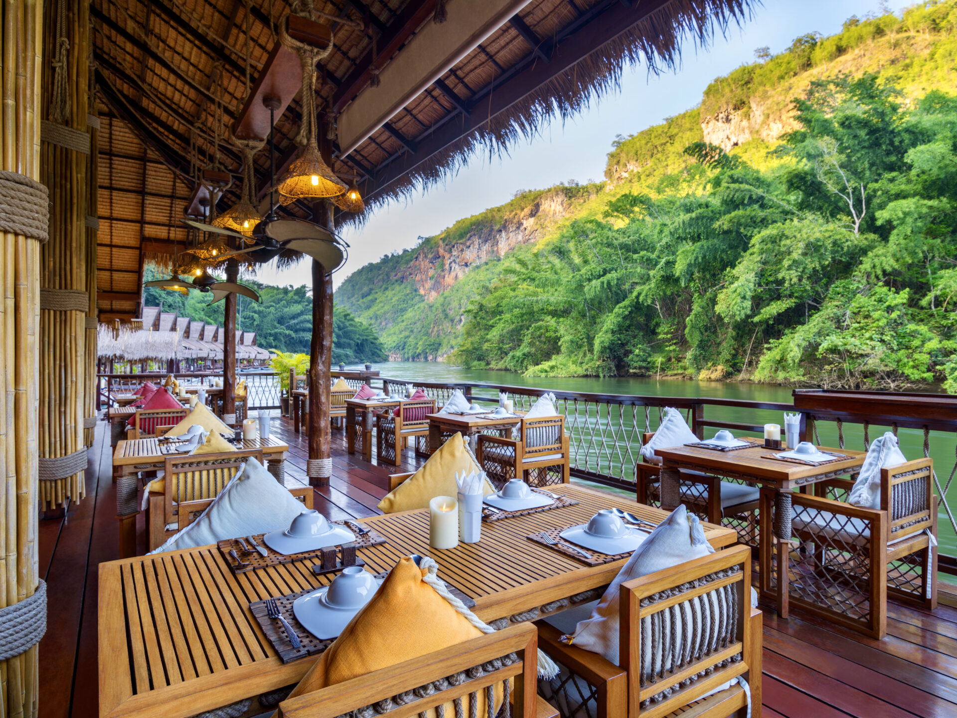 Floating restaurant Kanchanaburi Thailand