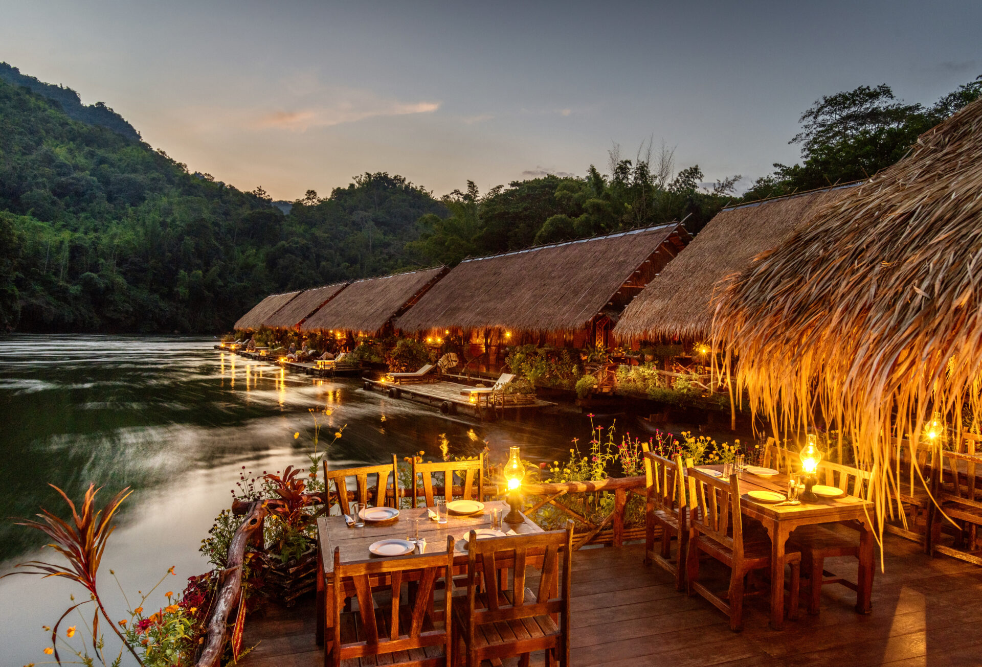 Floating Hotel in Kanchanaburi River Kwai Jungle Rafts Resort Saiyok